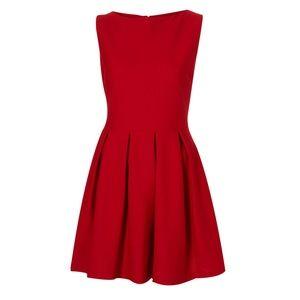 TOPSHOP • Red Sleeveless Skater Dress